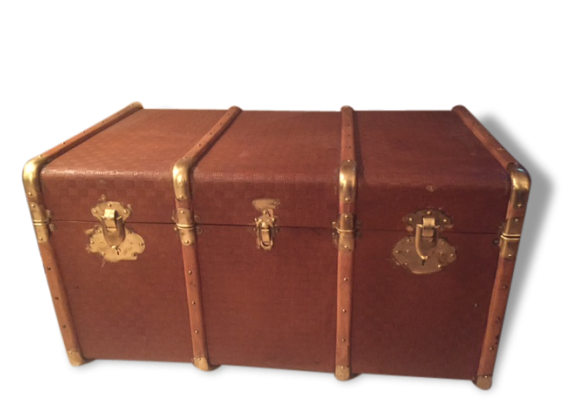malle de voyage cuir marron bon tat classique 165553. Black Bedroom Furniture Sets. Home Design Ideas