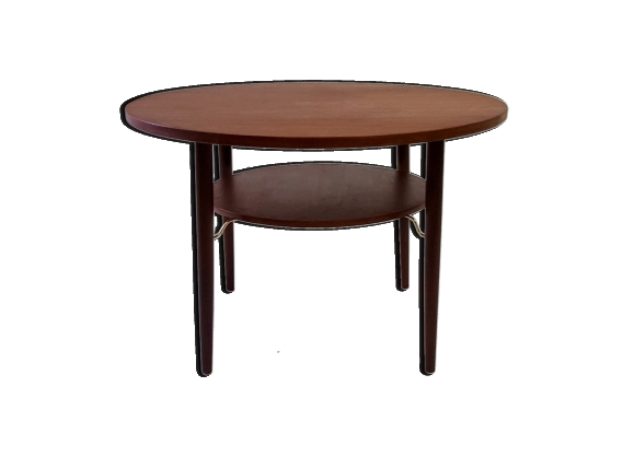 Table basse ronde double plateaux design scandinave en teck - 1960