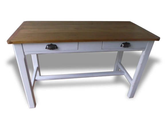 Table bureau de ferme ancienne bois mat riau blanc for Bureau qui ferme
