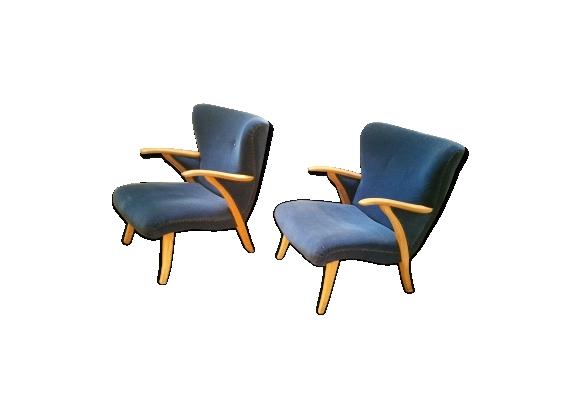 Paire de fauteuils scandinave wing Zig Zag cocktail années 50 bleus