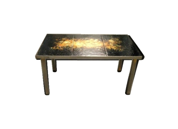 Table basse en fer forgé, bronze et marbre