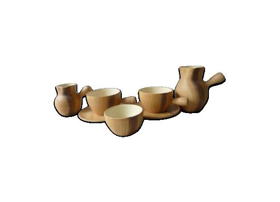 Service petit déjeuner en céramique faux bois des années 50/60