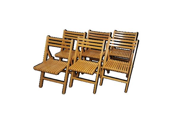 Lot de 6 chaises pliables bois mat riau marron bon for Chaises pliables