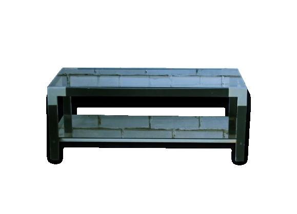 Table basse en verre fumé, bois et métal, 1970's