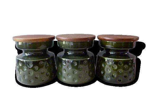 3 pots de cuisine en céramique ton vert kaki des années 70