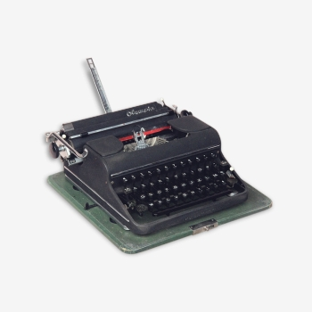 Machine à écrire OLYMPIA noire en coffret années 1940 1950