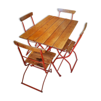 Table de cuisine en fer forg inou table avec rallonge for Ensemble table et chaise transparent