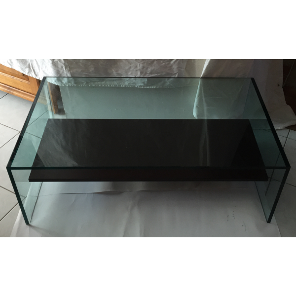 table basse en verre verre et cristal transparent bon tat design. Black Bedroom Furniture Sets. Home Design Ideas