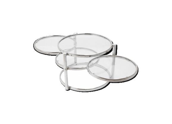 Table basse ronde design années 70
