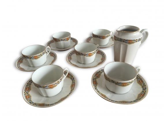 Charmant service café porcelaine de Limoges art déco