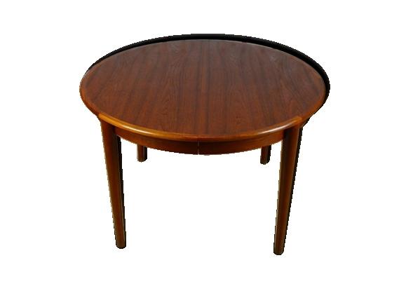 Table ronde design scandinave en teck vintage 1966