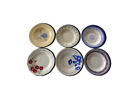 6 assiettes dépareillées faience ancienne