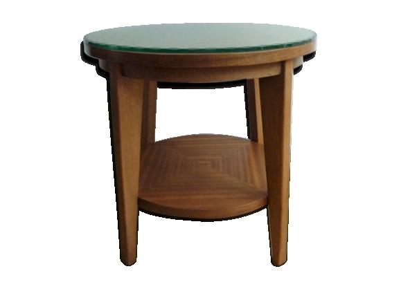 Table basse ronde et plaque de verre années 50