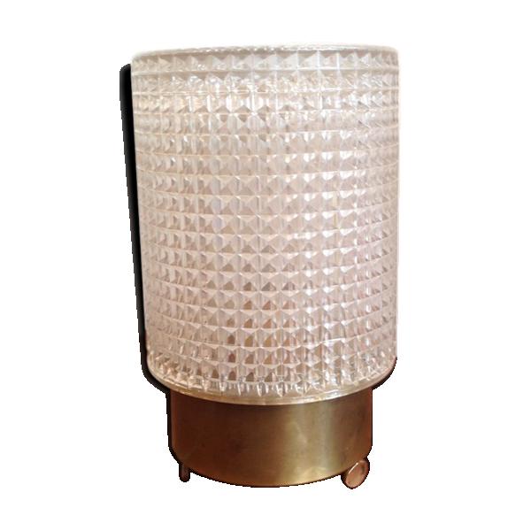 lampe poser verre pais relief laiton 1950 verre et cristal transparent bon tat. Black Bedroom Furniture Sets. Home Design Ideas