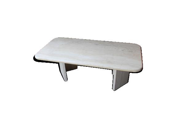 table basse en travertin 1970 marbre blanc bon tat vintage. Black Bedroom Furniture Sets. Home Design Ideas
