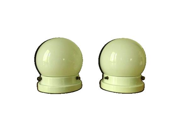 Plafonniers avec boule de verre et base porcelaine