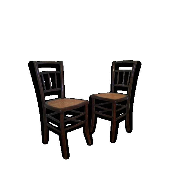 Paire chaises bistrot cann es anciennes bois mat riau for Chaises bistrot anciennes