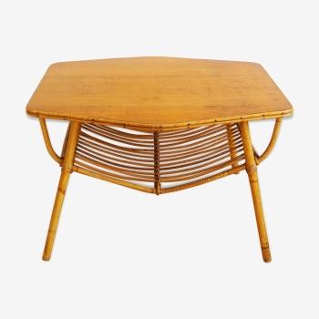 Belle table basse rotin osier