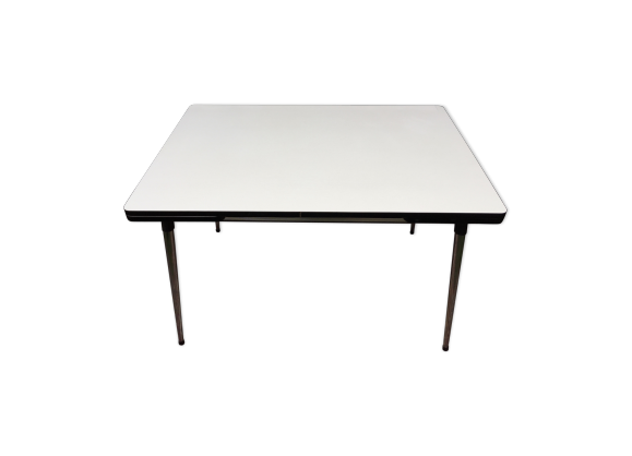 table en formica avec rallonges ann es 60 70 formica blanc bon tat vintage. Black Bedroom Furniture Sets. Home Design Ideas