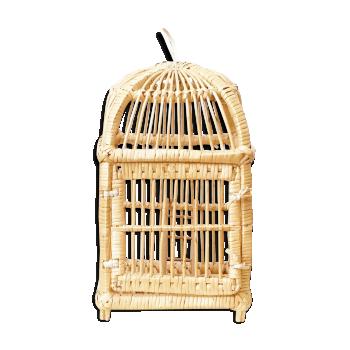 Cage à oiseaux rotin et osier vintage