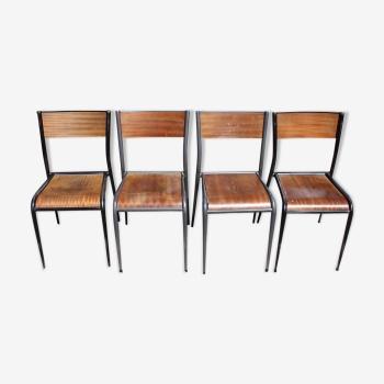 Lot de 4 chaises d'école Mullca pieds fuseaux 1950