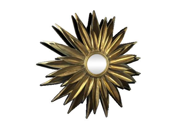 Miroir soleil en t le couleur or ann e 70 fer dor for Miroir annee 70