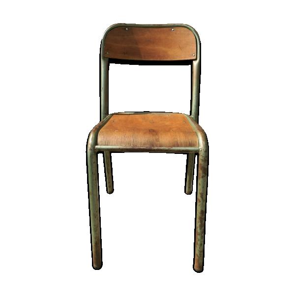 chaise d 39 cole m tal marron bon tat industriel 09eefbbecf6738739fc525574b99cb97. Black Bedroom Furniture Sets. Home Design Ideas