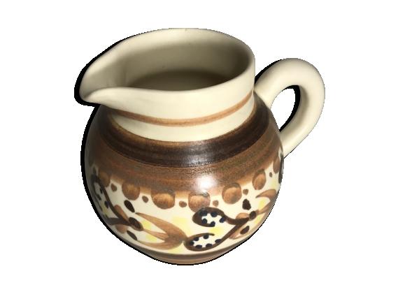 Ancien pichet Quimper céramique beige vintage