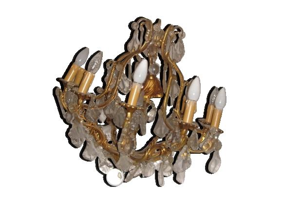 Lustre en bronze à pampilles de cristal début XXème