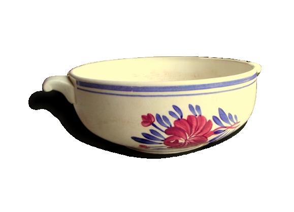 Plat Creux en Céramique Blanche avec Anses Porcelaine Opaque de Gien Décor Fleurs Roses et Bleues
