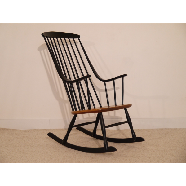 rocking chair design scandinave lena larsson bois mat riau marron bon tat design. Black Bedroom Furniture Sets. Home Design Ideas