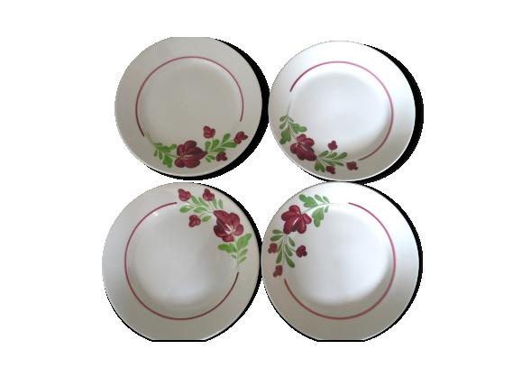 Ensemble de 4 assiettes lunéville peint à la main