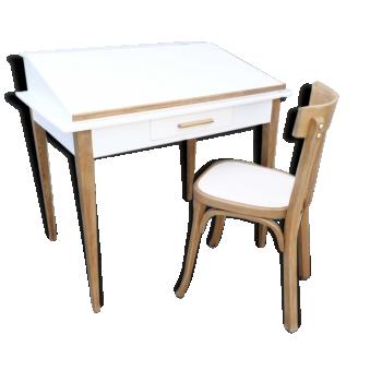 Bureau cole et chaise vintage ann es 60 bois mat riau for Chaise mullca 511