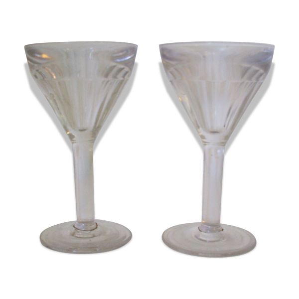 lot de 2 verres pied bistrot verre et cristal transparent bon tat vintage. Black Bedroom Furniture Sets. Home Design Ideas