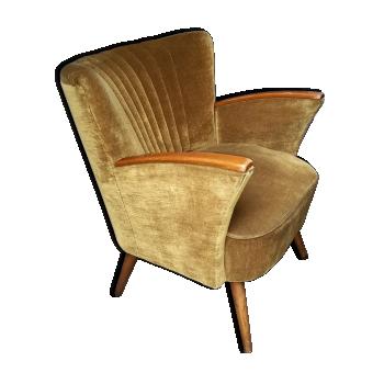 Fauteuil cocktail années 50-60 velour doré vintage