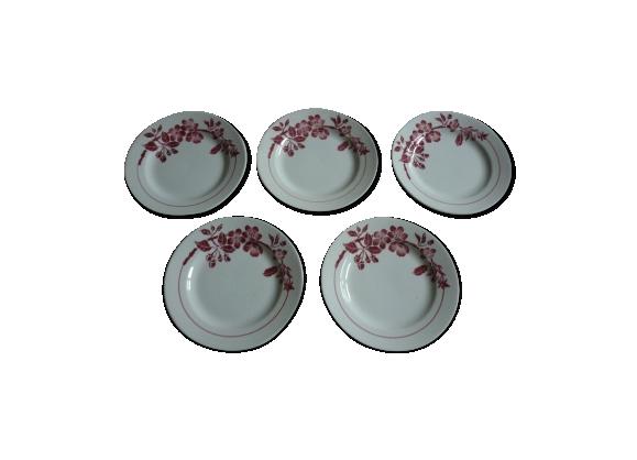 5 assiettes à dessert en faience vintage decor fleurs rouges