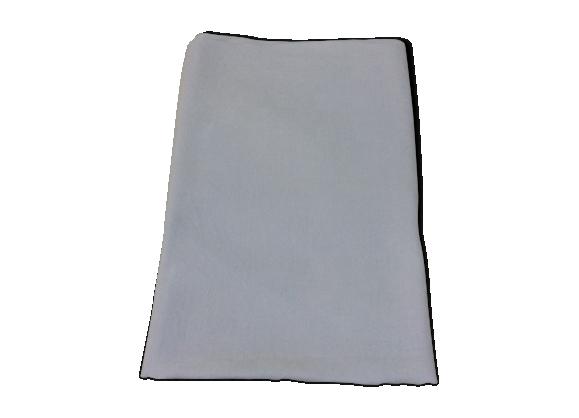 Ancienne nappe blanche carrée en coton damassé
