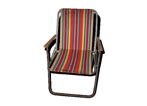 chaise ann es 60 de jardin ou de camping tissu multicolore dans son jus vintage. Black Bedroom Furniture Sets. Home Design Ideas