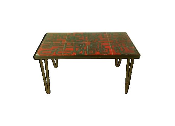 Table basse pieds épingles fer forgé et céramique