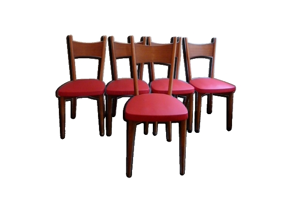 Série de 5 chaises rouge bistro