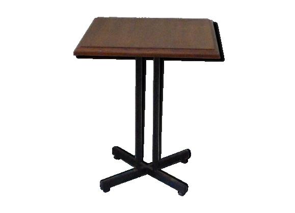 Table bistrot plateau en bois carré vintage 1950-60