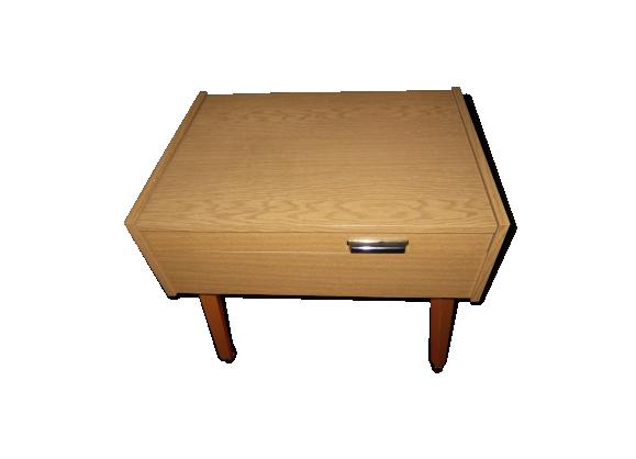 travailleuse style scandinave vintage sur roulette bois mat riau bois couleur bon tat. Black Bedroom Furniture Sets. Home Design Ideas