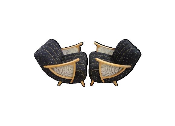 Paire de fauteuils vintage noir et jaune à motifs des années 50