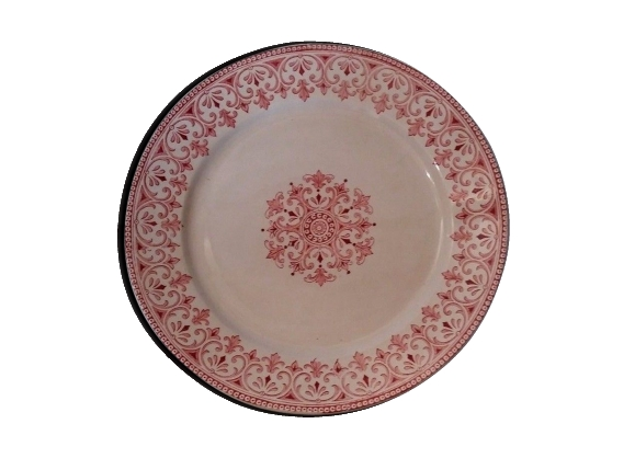 Assiette en faïence badonviller modèle oriental rose