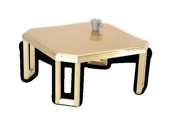 Table basse années 70 plateau verre doré