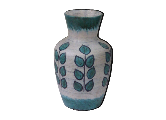 Vase en céramique émaillée Coceram numéroté, motif feuillage vintage