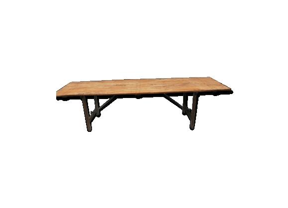 Ancienne table de ferme pliante en métal & bois du début XXème