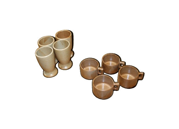 Lot de 8 tasses et mazagrans Grés Village Brenne