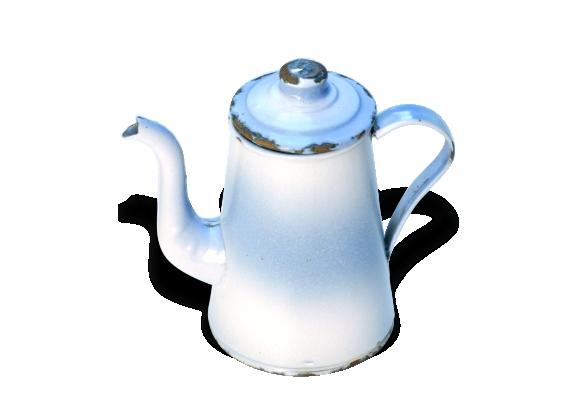 Cafetière émaillée blanche et bleue