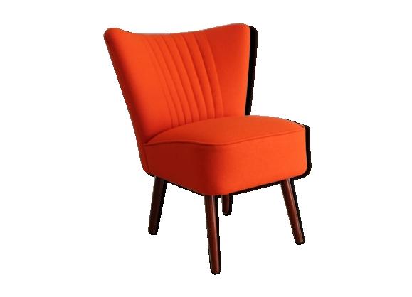 Fauteuil cocktail orange années 50
